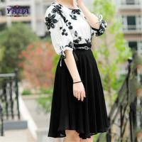 China Fashion set contrast floral embroidery blouse skirt old ladies clothing 2018 fashion women long chiffon dress sale on sale
