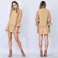 China 100% cotton scoop neck khaki dress with frayed detailing on sale