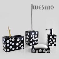 Quality 4 PieceBlack Color Polyresin Bathroom Sets with White Dots for sale
