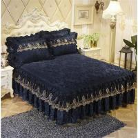 Quality Luxury Lace Bedding Bed Skirt set Thick bed sheet Bedspread Bed Linen Princess Bedclothes bed cover King Queen size for sale