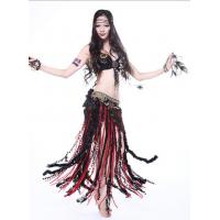 Quality Wild Sexy Black And Red Tribal Belly Dance Costumes , Belly Dancing Clothing for sale