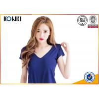 Buy cheap Deep v neck women blank T shirts ,cotton sex t-shirt blue color from wholesalers