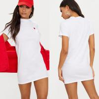 Quality Women Classic Version White Heart Embroidered T Shirt Dress With O Neck for sale
