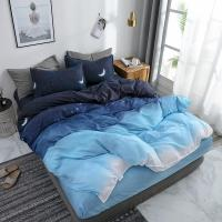 Quality Starry Night Sky Bedding Sets Moon and Star Pattern Gradient Color Duvet Cover Set Bed Sheet Pillowcases for sale