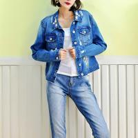 China Fancy Embroidery Jeans Coat For Women , Stretch Ladies Blue Denim Jacket on sale