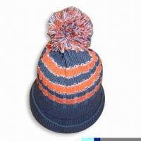 Quality Acrylic Knitted Hat with Pompom at Top for sale