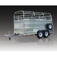 Quality Double Axle Steel Cattle Crate Trailer / Stock Crate Trailer With Hydraulic Brake for sale