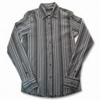 Quality Men's Casual Shirt with Long Sleeves and Striped Design, Made of Cotton and Viscose for sale