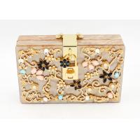 Ladies Acrylic Box Clutch For Party , Bridal Gold Glitter Clutch Bag