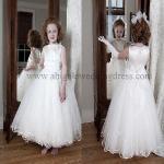 Quality Round Appliqued Neckline Tulle Skirt Bubble Hem Flower Girl Dresses (FD10002) for sale