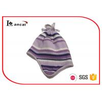 Quality 46cm Purple Womens Plaid Trapper Hat With Silver Lurex And Tassels for sale