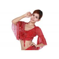 Quality Classic Sexy Red Belly Dancing Bra Tops with Flare Sleeve , Belly Dance Clothes for sale