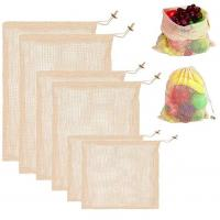 Buy Storage Large Mesh Drawstring Bags Organic Reusable Washable For Shopping at wholesale prices