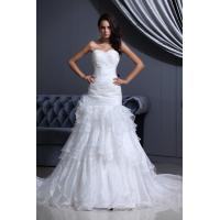 Quality Graceful Strapless Strapless Mermaid Wedding Gowns Organza Bridal Dress With Beads for sale