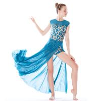Quality MiDee Best Sell Lyrical Dance Costumes Dresses Floral Sequins Leotard Cap Sleeves Leg Opening for sale