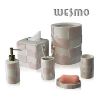 Buy cheap Modern Porcelain Bathroom Accessories Set with Streamline and Pink Color product