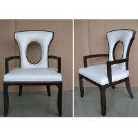 Quality Fabric Upholstered Modern White Leather Dining Room Chairs With Hole - Back for sale