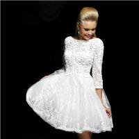 China Autumn White Beading Three Quarter Sleeve Lace Backless Short Prom Dress 2014 A-line Mini Formal Gown on sale