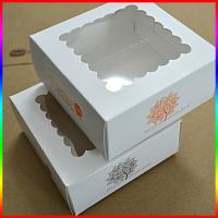 Quality square paper box for cupcake, dessert paper white box with window for sale