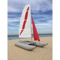 White / Red Inflatable Sailing Catamaran 6.05sqm Mainsail 2.2m Width With Two Sails