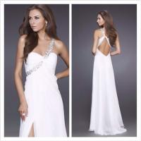 China Modern Sexy High Waist Chiffon Side Seam Floor Length Prom Dress Couture , Naked Back on sale