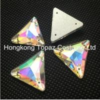 Quality Wholesale fashion crystal stone triangle sew on glass rhinestone trimming for sale