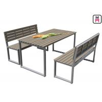 Quality Plastic Wood Outdoor Restaurant Tables Commercial KD Patio Dining Sets With Bench for sale