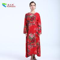 Custom Retro Style Ladies Long Sleeve Dresses Linen / Cotton Material