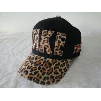 Quality Applique / Printing Leopard Ladies Fitted Baseball Caps , Strap Closure 6 Panel Hats for sale