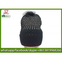 Quality Chinese manufactuer free faux fur pompom knitting stripe hat  cap  patterns beanie 75g 18*24cm 100%Acrylic keep warm for sale