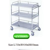 Quality portable stainless steel medical instrument trolley with three railings for hospital used for sale