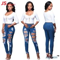 China Mid Waist Type Rip Jeans Pants Breathable Zipper Fly Closure Type on sale