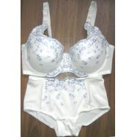 Quality OEM Cotton White Embroidered Matching Bra and Underwear Sets for Women for sale