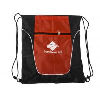 Sports Polyester Drawstring Bag With Zipper , Cinch Drawstring Backpack Bag