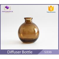 Quality Aromatic Reed Diffuser Glass Bottle 200ml Flat Round Colored Thin Neck for sale