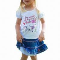 China White Love Summer Tee/Children's T-shirt, Made of 100% Cotton, Customized Designs are Accepted on sale