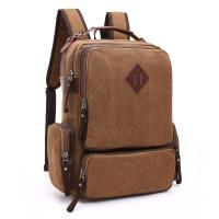 Thick Canvas Stylish Bags For College Guys  / Versatile Laptop Bag With Zipper Side Porket