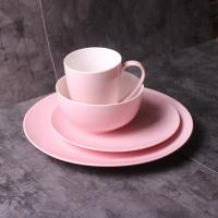 Quality nфарфоровый обеденный набор/new bone china Pink coloured glaze dinner set 24 pcs with gif box/dinner plate/bowl/mug for sale