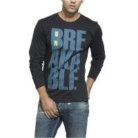 China O - Neck Collar Black Long Sleeve Shirt Mens Eco Friendly With Blue Letter Pattern on sale