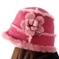 China Lamb Fur Ladies Sheepskin Beanie Hat Adult Plain Dyed Pattern OEM / ODM on sale