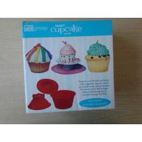 China 3pcs Non-stick flexible Silicone Cake Mould , Red Debossed Logo Cupcake Mold on sale