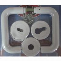 Quality Plastic door handles, made of PP, with rosette full set in blister packing for sale