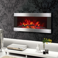 China 36 INCHES WALL MOUNTED FIREPLACE HEATER EF820 PATENTED LED REAL FLAME WOODEN BURNING LOGSET EFFECT STAINLESS STEEL on sale