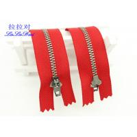 Buy 6 Inch Antique Brass Closed End Zip Red Tape Semi Auto - Lock Slider For Dress / Shoes at wholesale prices