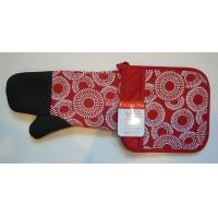 Quality Kitchen Pro 2-Piece Oven Mitts , Red / White Pot Holder Set With Neoprene for sale