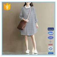 China Polo Shirt Design Winter Korean Striped Dresses New Fashion Lady Dress on sale