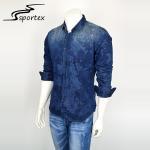Quality Fashion Slim Denim Jeans Shirt For Man , Printed Denim Shirts Full Sleeve Length for sale