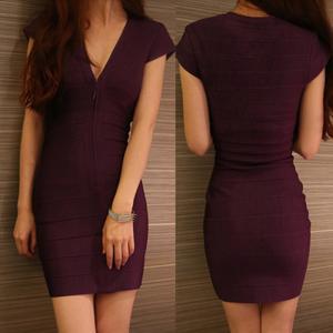 China Wholesale/retail stylish eggplant short sleeve deep v short tight  party dresses on sale