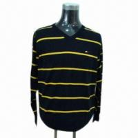 Quality 2013 Men's Sweater/Pullover with Stripes, V-neck and Long Sleeve for sale