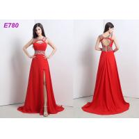 China Red Slit Sexy Cocktail Party Dress Beading Chiffon Dress For Evening Dress on sale